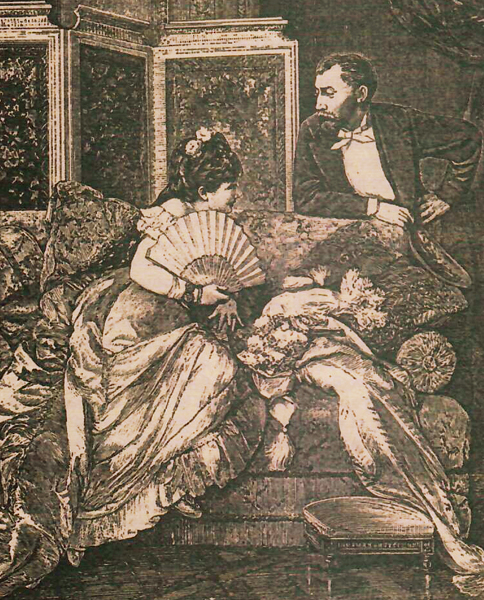Illustration of a Victorian woman sitting on a sofa talking to man behind the sofa