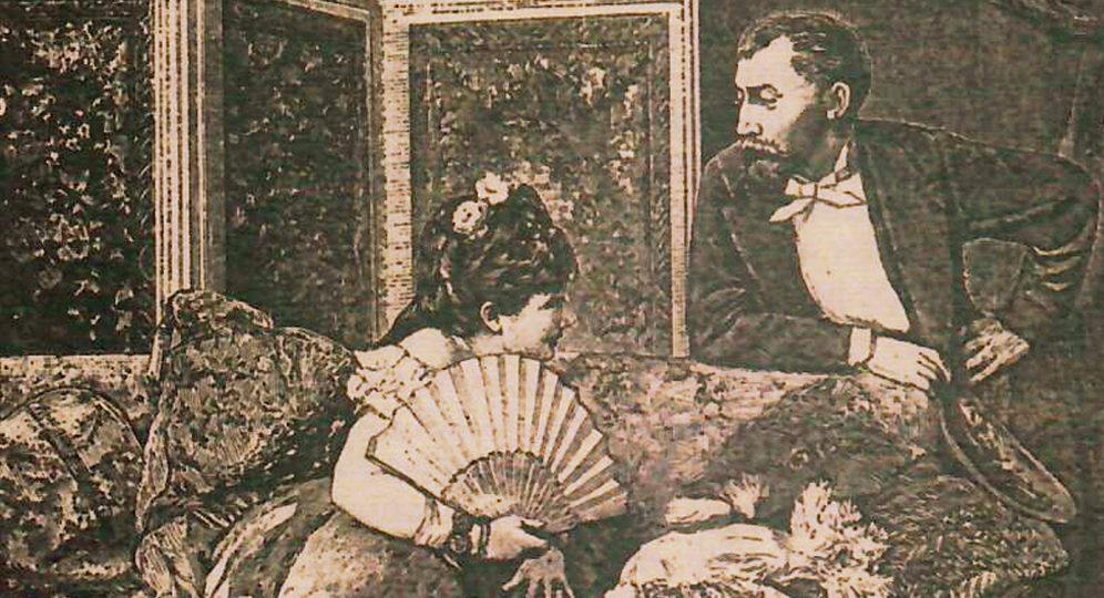 Illustration of a Victorian woman on a sofa talking to a man standing behind the sofa