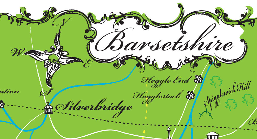 Detail of map of Barsetshire